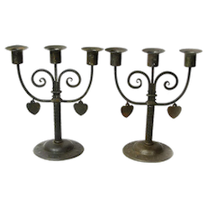 Make an Offer! Matching Pair Signed  Goberg Iron Candelabras with Dangling Hearts