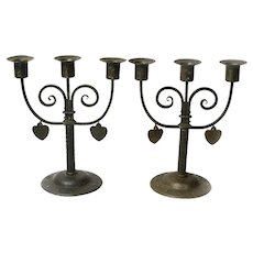 Matching Pair Signed  Goberg Iron Candelabras with Dangling Hearts