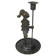 Goberg Signed Hand Hammered Iron Standing Knight Candlestick, Brass Accents, Ca. 1910