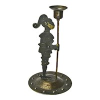 Goberg Signed Iron Standing Knight Candlestick, Ca. 1910