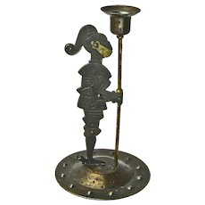 Hand Worked Iron Standing Knight Candlestick, Goberg Signed, Ca. 1910