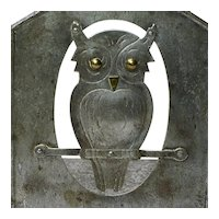 Goberg Hammered Iron Owl Bookends, Signed