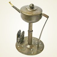 Hand Wrought Iron Goberg Oil Lamp w/Matchbox Holder, Signed, Ca. 1900-1910