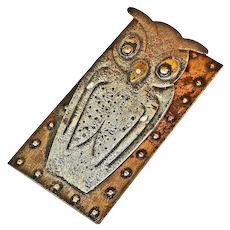 Goberg Germany Hand Hammered Iron Owl Desk Clip / Paper Clip,  Ca. 1900