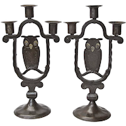 Matched Pair of Goberg Hand Hammered Three Stick Owl Candelabras, Ca. 1900