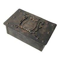 Wood Lined Goberg Owl Desk Box, Ca. 1910