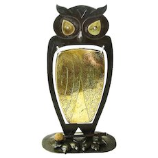 Signed Goberg Owl Gong, Ca. 1910, Monumental  Size