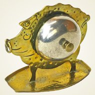 Extremely Rare Signed Goberg Crafted Hammered and Cast Brass Pig Lobby Bell, Ca 1910