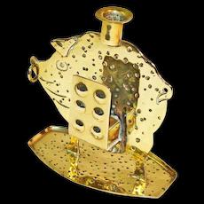 Signed Goberg Hand Hammered Brass Pig Match Holder & Candlestick, Ca. 1910