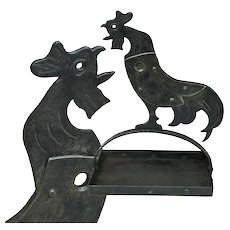 Goberg Hammered Iron Crowing Rooster Cigar Cutter Ashtray, Signed, Ca. 1910
