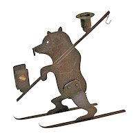Goberg Hand-hammered Skiing Bear Candlestick/ Matchbox Holder, Ca. 1910