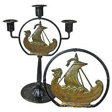 Iron and Brass Candelabra with Nordic Viking Ship, Goberg Signed