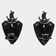 Two Goberg Viking Ship Hammered Iron Wall Sconce Candlesticks, Ca. 1910