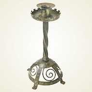 Goberg Gothic Castellated Candlestick with Wire Work Base, Signed, Ca. 1910