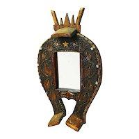 Carved Folk Art Horseshoe Mirror, Ca. 1930's