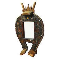 Carved Folk Art Horseshoe Mirror, Ca. 1930's
