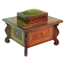 Inlay Decorated Sewing Box with Pin Cushion & Drawer,  Ca. 1900