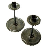 Hand Wrought Iron Pair of Jugendstil Era Candlesticks, Signed F W Germany