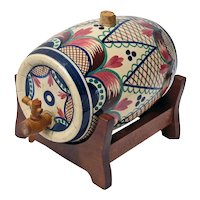 French Keraluc Quimper Earthenware Brandy Cask or Barrel with Stand