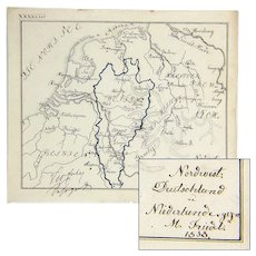 Forty Hand Drawn Maps of Europe and The World, Signed, Dated, 1836-1838