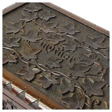 """Mother"" Desk Box, Carved Walnut, Black Forest Style"