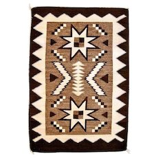 Double Valero Star Navajo Weaving, All Natural Yarns, Ca. 1930's