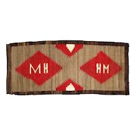 """Navajo Weaving Runner , Pictorial with Initials """"M H"""""""