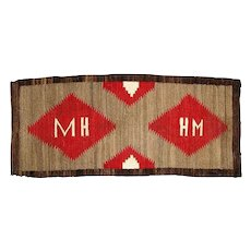 "Navajo Weaving Runner , Pictorial with Initials ""M H"""