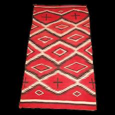 Large Transitional Navajo  Weaving with Hand-spun Wool, ca. 1900