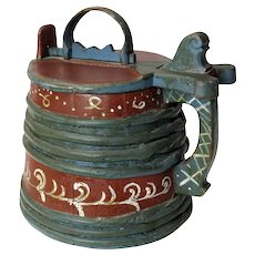 Painted Scandinavian Staved Tankard with Locking Lid