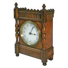 1920's French 30-Hour Oak Desk / Shelf Clock