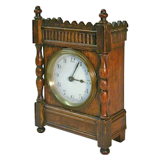 1920's French 30-Hour Oak Desk / Shelf Clock
