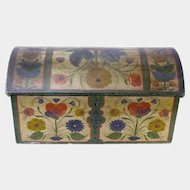 Os Painted Norwegian Miniature Dome Top Blanket Chest with Till and Text, Ca 1885
