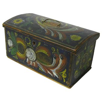 Norwegian Miniature Dome Top Chest with Till, Os Rosemaling Decorations, 1895