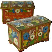 Rosemaling Decorated Norwegian Miniature Dome Top Chest with Till plus Text, Ca 1896