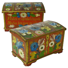 Rosemaling Decorated Norwegian Miniature Dome Top Blanket Chest with Till plus Text, Ca 1896