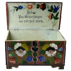 Os Decorated Norwegian Kiste, 1902, With Birthday Inscription
