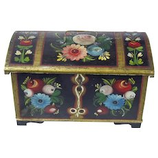 Rosemaling Decorated Norwegian Skrin with Lock and Key