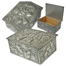 Embossed French Pewter Cigarette Box, Art Nouveau
