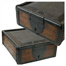 Spice Box Strong Box with Sliding Lid and Lock, Joh Roos, 1804