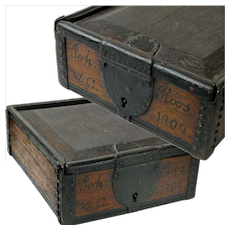 Sliding Lid Spice Box Strong Box with Lock, Name and Date, 1804