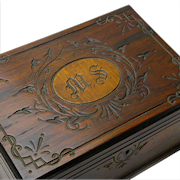 Rosewood and Tiger Maple Dresser Jewelry Box, Ca. 1860-70