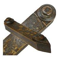 Primitive Carved Straight Razor Case with Pennsylvania Dutch Designs, Handmade