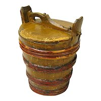 Grain Painted Staved Container with Lid, Scandinavian