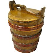 Staved Grain Painted Container with Lid, Scandinavian