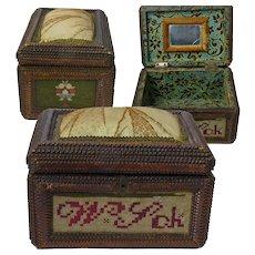 "Tramp Art Dresser Box, Lined with Mirror, Germany,  ""Aus Liebe"""