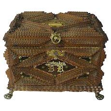 "Tramp Art Jewelry or Desk Box, 1893, Working Lock, ""Andenken"""