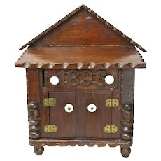 Dated Tramp Art Miniature Doll Cabinet with Drawer, 1889