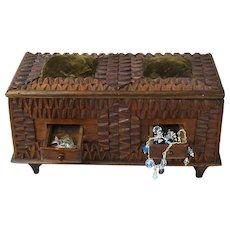 Tramp Art Dresser Box w/ Drawers, Heavily Notched