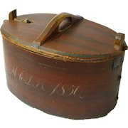 Painted Dated Norwegian Tine Bent Wood Box, 1850, Latched Lid